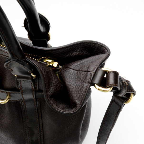 Burberry Black Leather Top Handle Bag