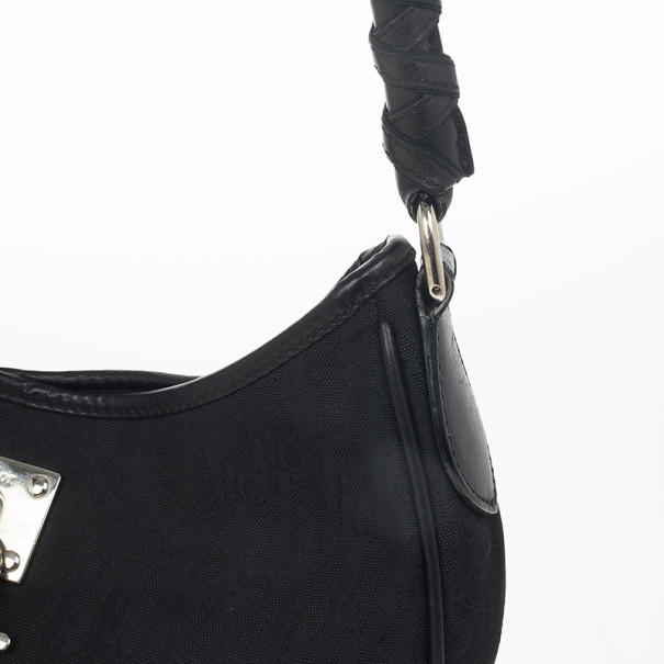 Dior Black Diorissimo Canvas Lovely Hobo