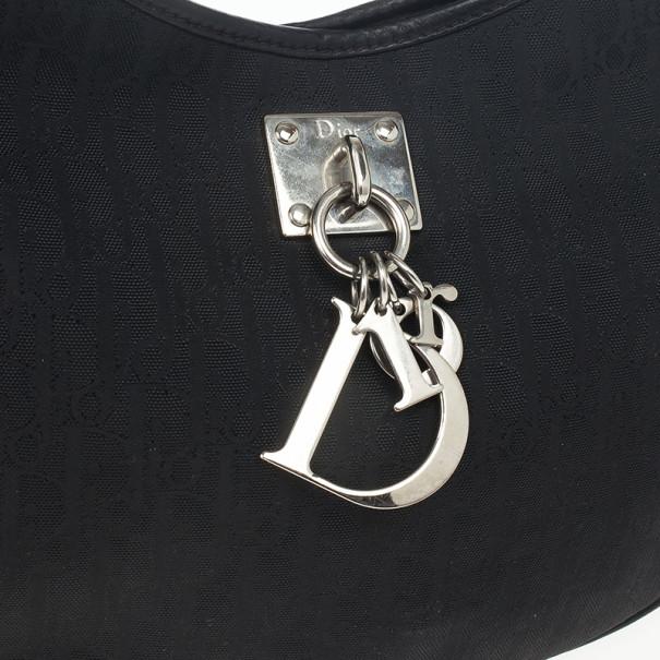 Dior Black Diorissimo Canvas Lovely Hobo