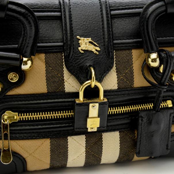 Burberry Quilted House Check Mini Manor Satchel Handbag