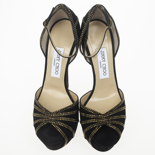 Jimmy Choo Black Suede Crystal Embellished Kalpa Ankle Strap Platform Sandals Size 38