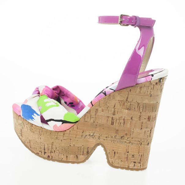Jimmy Choo Purple Gleam Printed Cork Wedge Sandals Size 39.5