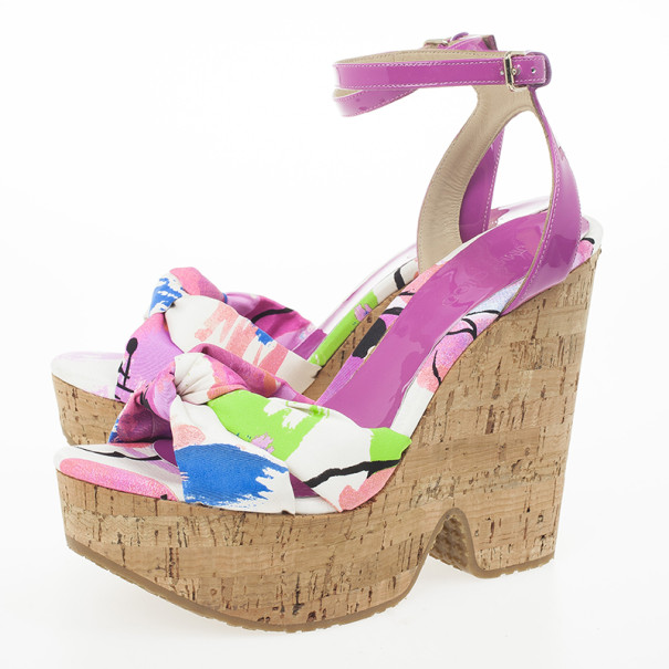 Jimmy Choo Purple Gleam Printed Cork Wedge Sandals Size 39.5