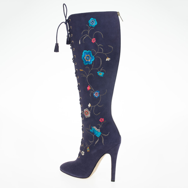 Jimmy Choo Purple Suede Floral Embroidered Colorado Knee Length Boots Size 39