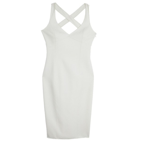 Michael Kors White BodyCon Crossback Sheath Dress S