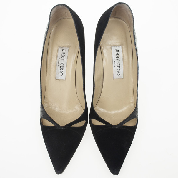 Jimmy Choo Black Suede & Leather Pointed Toe Pumps Size 39