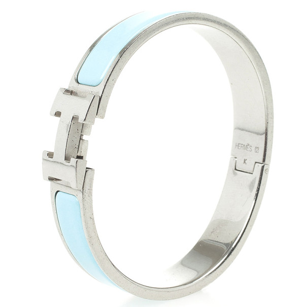 Hermes Clic-Clac H Light Blue Palladium Plated Bracelet PM