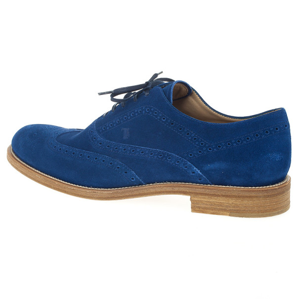 Tod's Blue Suede Brogue Oxfords Size 43.5