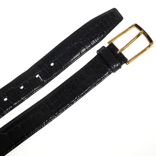 Prada Black Patent Crocodile Leather Belt 95 CM