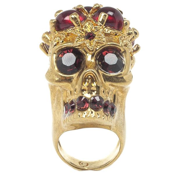 Alexander McQueen Blood Drops Skull Ring Size 53