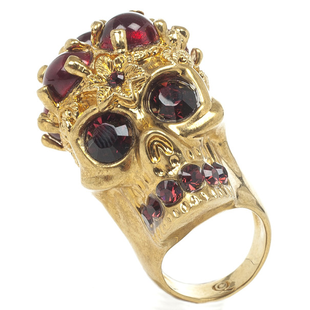 Alexander McQueen Blood Drops Skull Ring Size 53