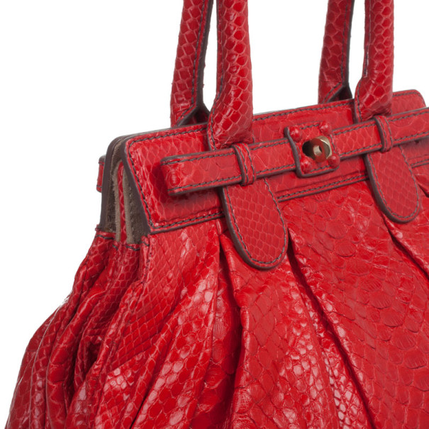 Zagliani Red Python Small Puffy Satchel