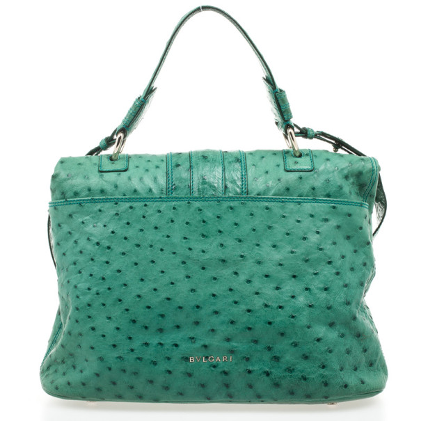 Bvlgari Green Ostrich Skin Leoni Shoulder Bag