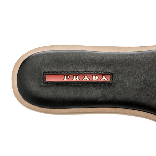 Prada Sport Black Leather Bow Slides Size 38.5