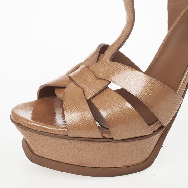 Yves Saint Laurent Peach Leather Tribute Platform Sandals Size 37.5