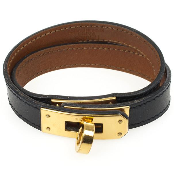 Hermès Black Kelly Double Tour Leather Bracelet