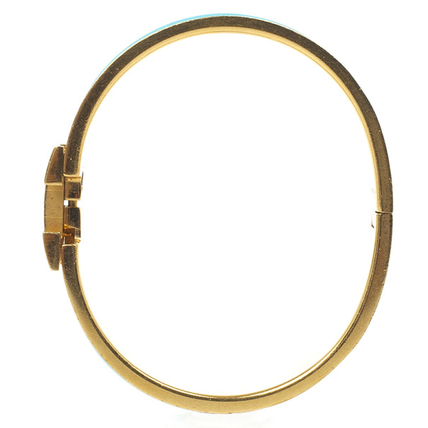 Hermes Clic-Clac H Bleu Enameld Gold Plated Bracelet