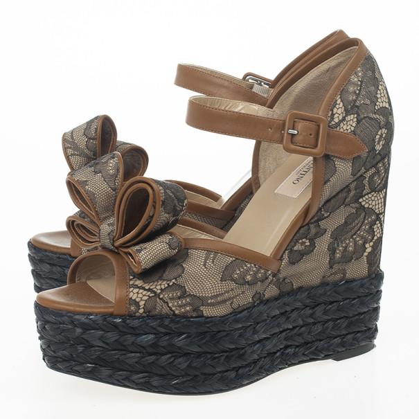 Valentino Bow Lace Platform Espadrille Wedges Size 38