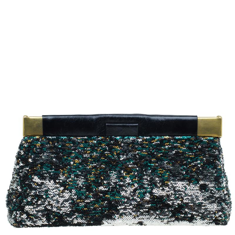Miu Miu Multicolour Sequin Leather Clutch