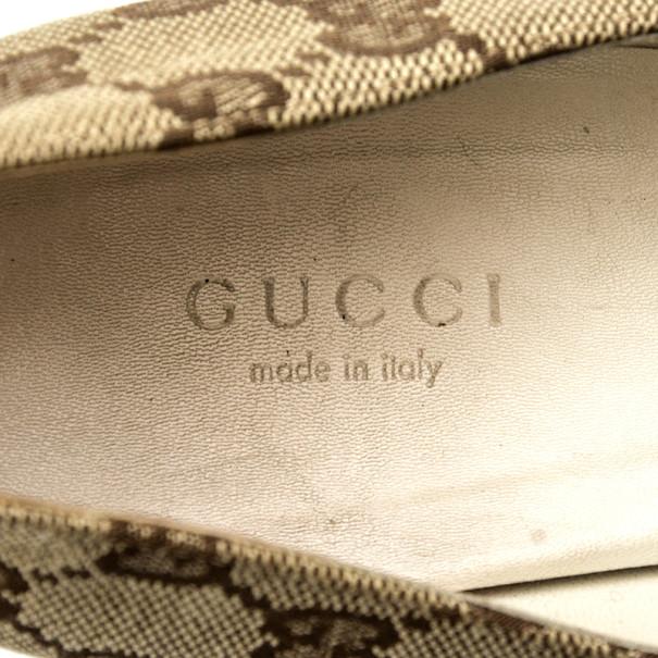 Gucci Guccissima Canvas Web Detail Pumps Size 37