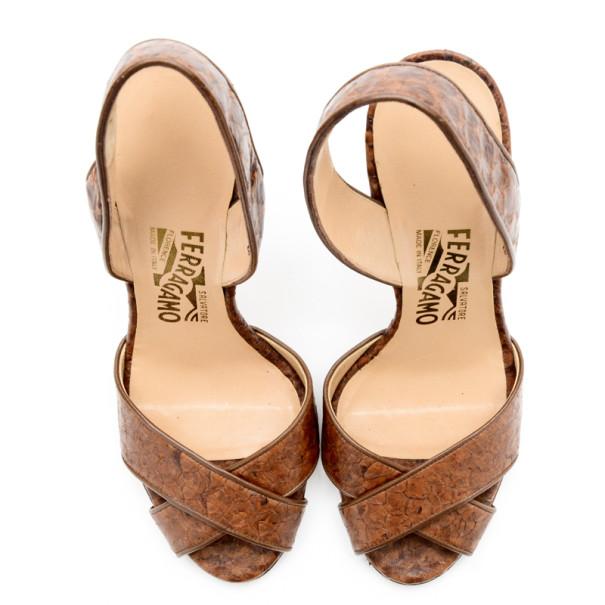 Salvatore Ferragamo Brown Leather Criss Cross Slingback Sandals Size 37