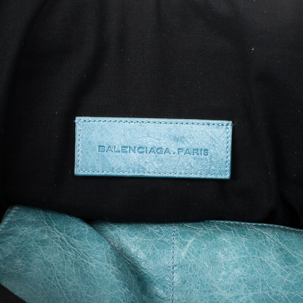 Balenciaga Blue Lambskin Giant Covered Folder Bag