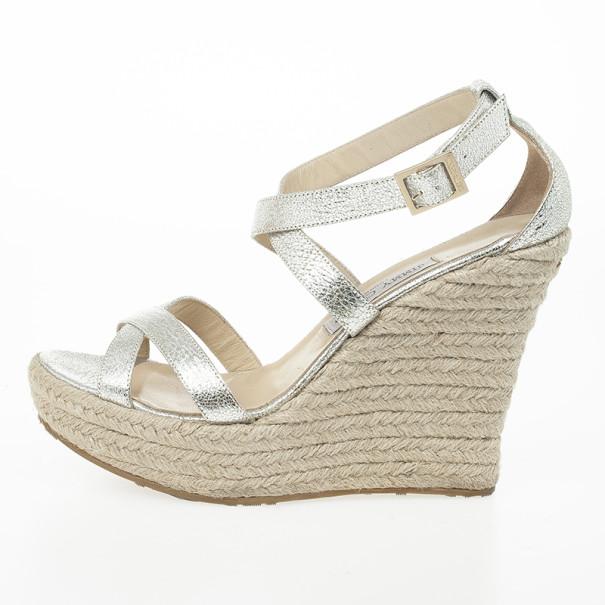 Jimmy Choo Silver Glitter Porto Espadrilles Wedge Sandals Size 40