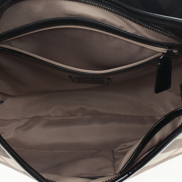 Burberry Black Patent Leather Supernova Coated Canvas Barton Hobo Bag