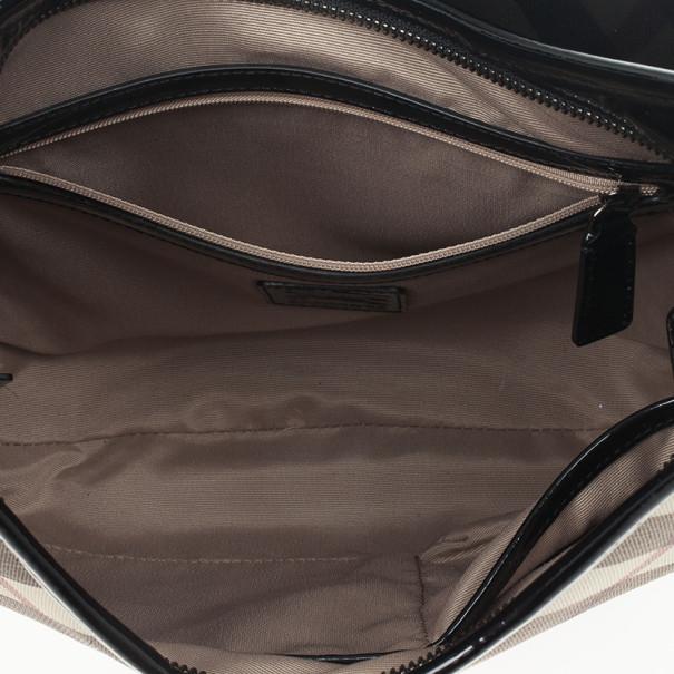 Burberry Black Patent Leather Supernova Coated Canvas Barton Hobo Bag