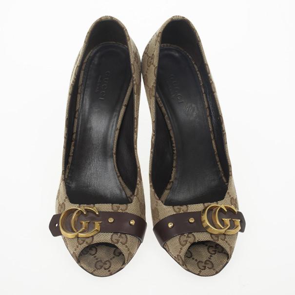 Gucci Guccisima Canvas 'GG' Peep Toe Pumps Size 38