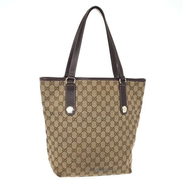 Gucci Beige GG Denim Canvas Bucket Tote