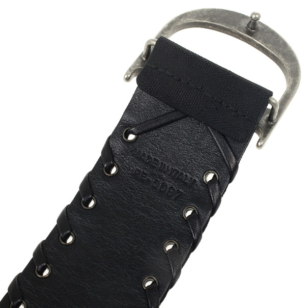 Christian Dior Monogram Black Leather Belt 94 CM