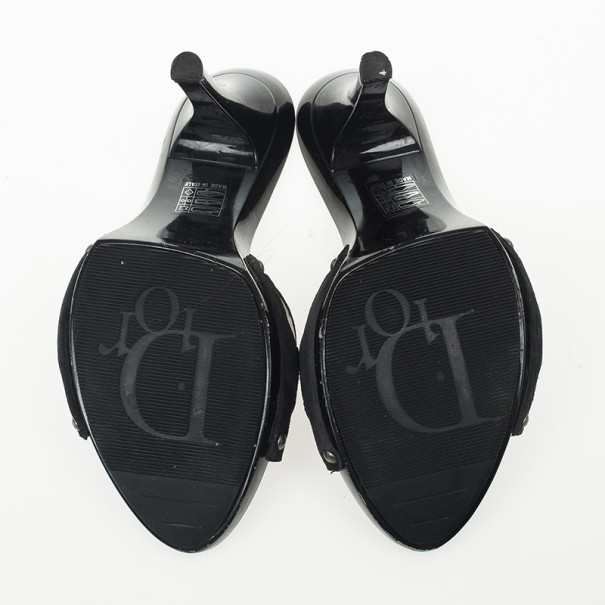 Christian Dior Black Leather Mules Size 37.5