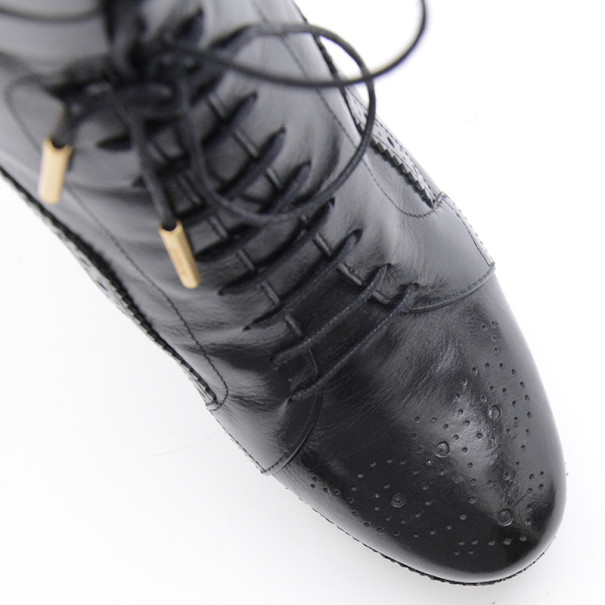 Burberry Black Leather Brogue Lace Up Platform Ankle Boots Size 38