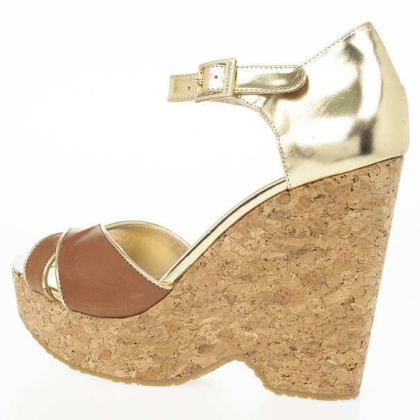 Jimmy Choo Pape Mirrored Wedge Sandals Size 41