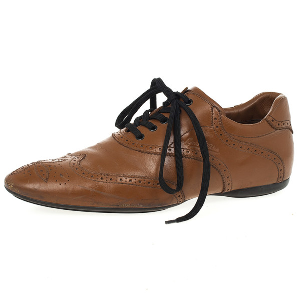 Louis Vuitton Tan Leather Lace Up Oxfords Size 43.5