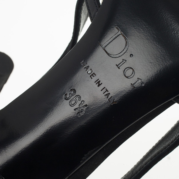 Christian Dior Black Satin Pointed Toe Pumps Size 36.5