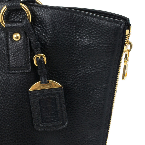 Prada Black Vitello Daino Side Zip Shopping Tote