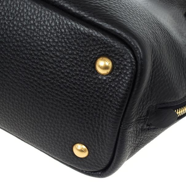Prada Black Vitello Daino Side Zip Shopping Tote
