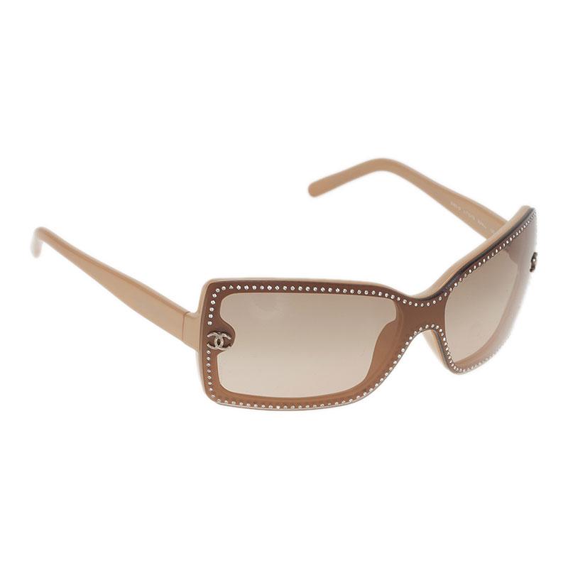 Chanel Beige Embellished CC Logo Rectangle Sunglasses