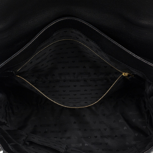 Moschino Large Leather Flap Satchel