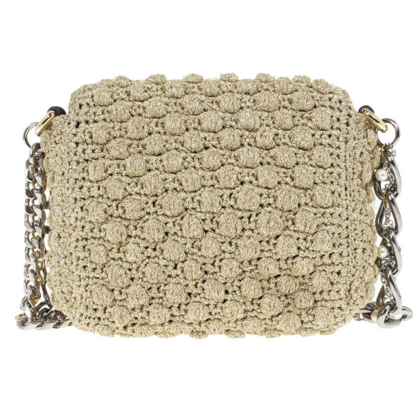 Dolce and Gabbana Sicily Micro Crochet Flap Bag