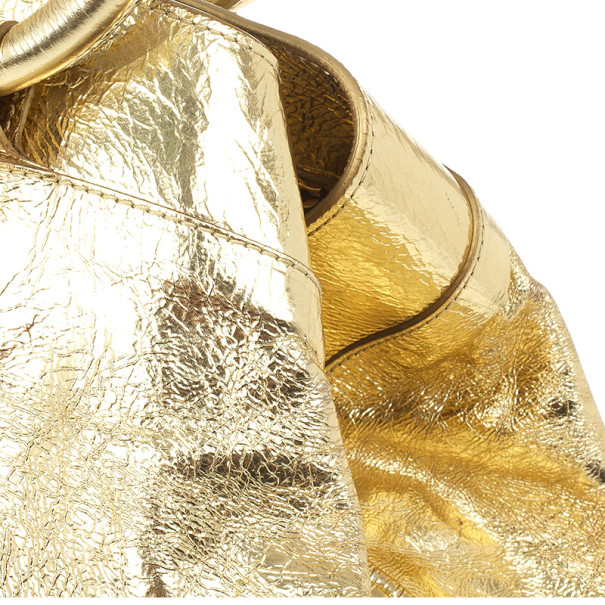 Marc Jacobs Metallic Gold Crackled Leather Tote