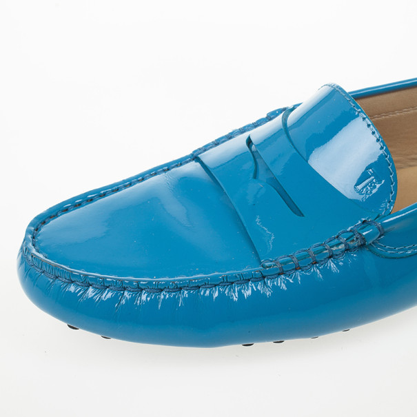 Tod's Blue Patent Gommino Leather Loafers Size 40