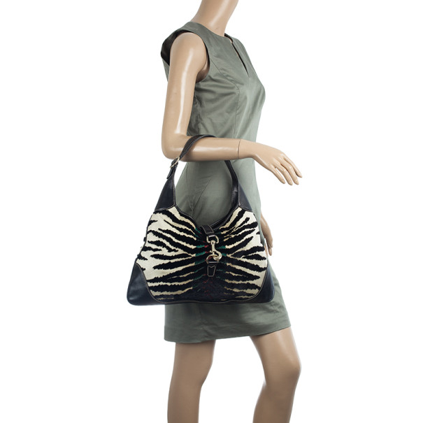 Gucci Zebra Print Web Canvas Jackie O Bouvier Hobo