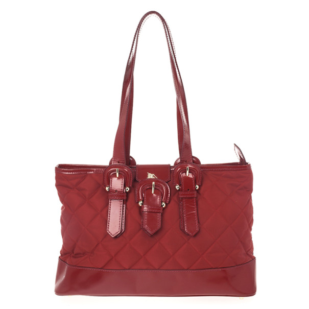 Burberry Red Quilted Tote