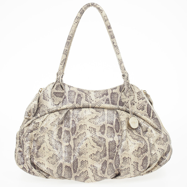 Furla Embossed Python Leather Clara Tote