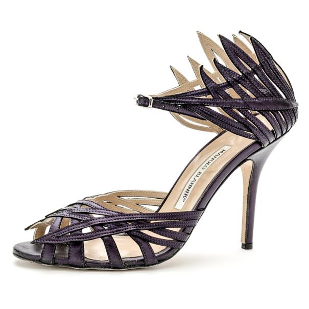 Manolo Blahnik Purple Metallic Strappy Sandals Size 38.5