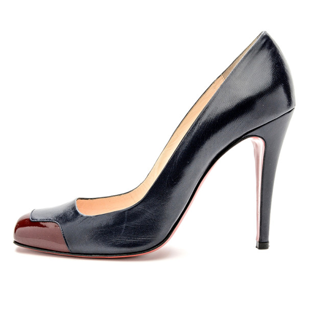Christian Louboutin Navy & Burgundy Patent Leather Lady Grant Pumps Size 39