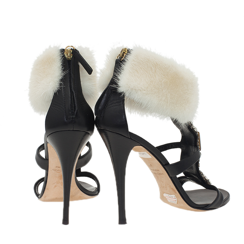 Giuseppe Zanotti Black Jewel Embellished Leather Fur Trim Sandals Size 40